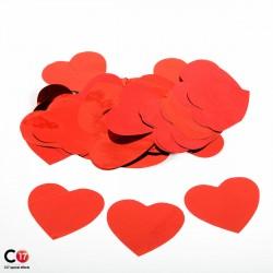 Confettis brillant Coeur 5cm Rouge